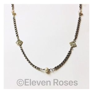David Yurman Pearl & Gold DY Logo Station Necklace